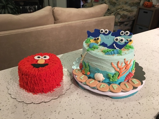 Birthday Cakes For A One Year Old Baby Sharks And Elmo Smash Cake
